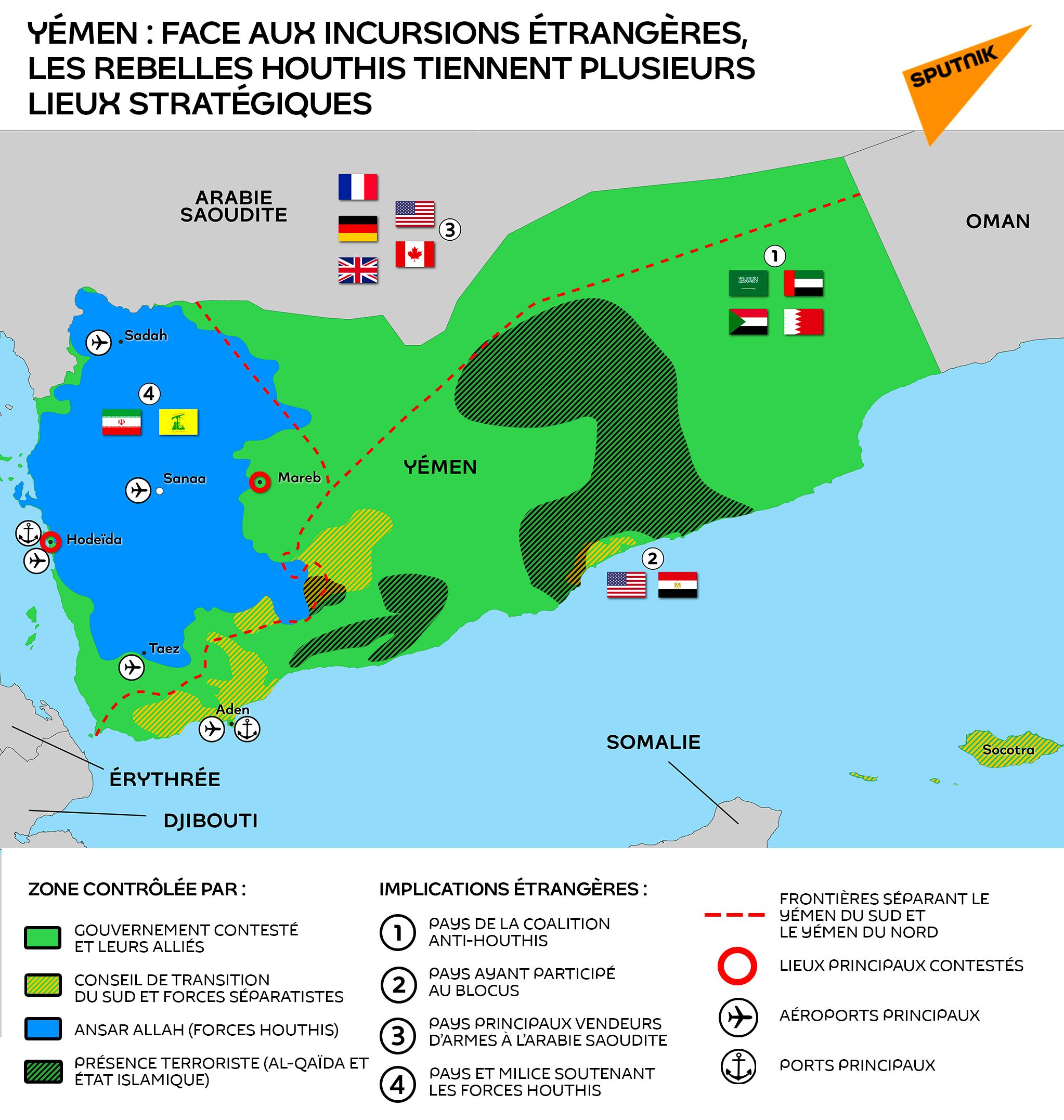 Yémen : face aux incursions étrangères, les rebelles houthis tiennent plusieurs lieux stratégiques - Sputnik France, 1920, 31.03.2021