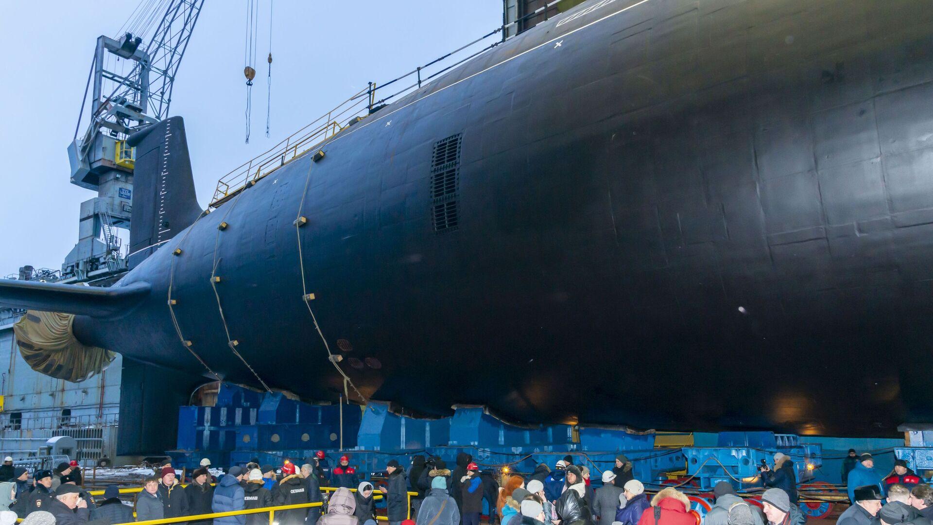 La cérémonie de mise à l'eau d'un sous-marin du projet Iassen-M à Severodvinsk (archive photo) - Sputnik France, 1920, 24.09.2021