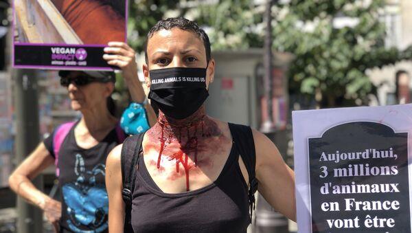 Un activiste du collectif Vegan Impact lors d'une action à Paris - Sputnik France