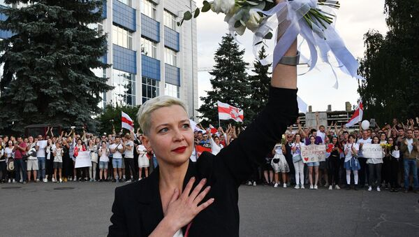 Maria Kolesnikova lors des manifestations à Minsk, le 15 août  - Sputnik France