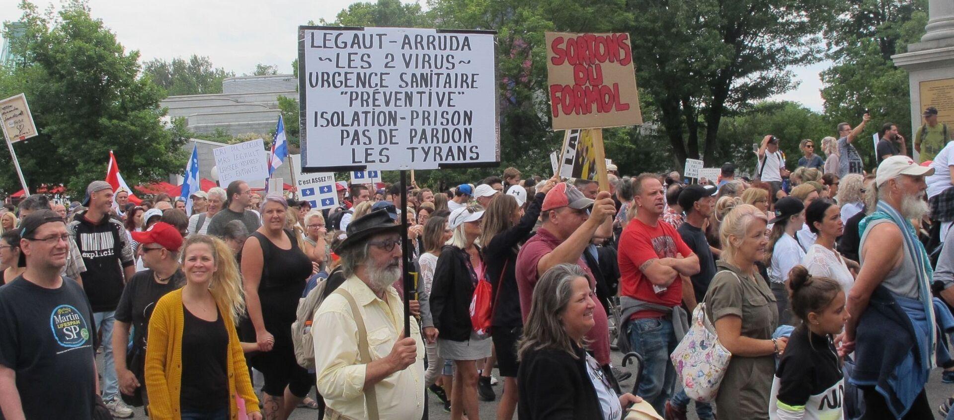 La protestation contre la prolongation des mesures sanitaires se poursuit au Québec - Sputnik France, 1920, 22.06.2021