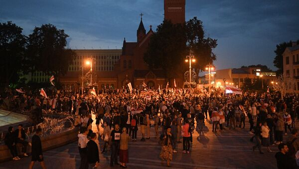 Un rassemblement de l'opposition sur la place de l'Indépendance à Minsk, le 25 août 2020  - Sputnik France