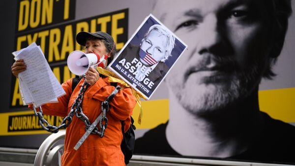 Un rassemblement contre l'extradition de Julian Assange à Londres - Sputnik France