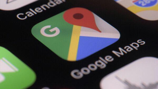 Logo von Google Maps App auf dem Bildschirm eines Smartphones - Sputnik France