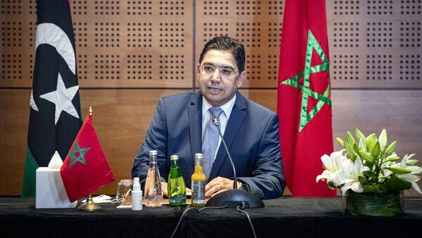 Nasser Bourita, ministre des Affaires étrangères marocain, lors de la première réunion à Bouznika sur la crise interlibyenne, le 6/09/2020. - Sputnik France
