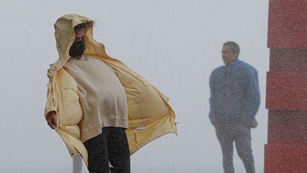 La Promenade des Anglais à Nice pendant le passage de la tempête Alex - Sputnik France