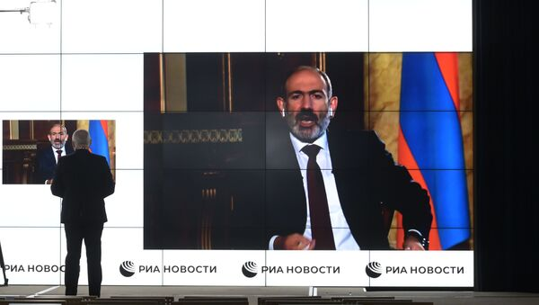Interview de Dmitri Kisselev, directeur de l'agence Rossiya Segodnya, avec le Premier ministre arménien Nikol Pachinian - Sputnik France