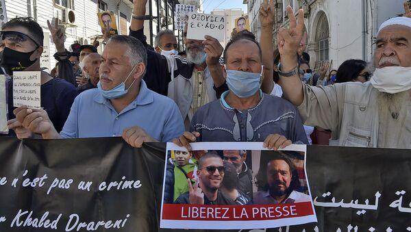 Une manifestation à Alger pour la libération du journaliste Khaled Drareni et d'autres détenus d'opinion - Sputnik France