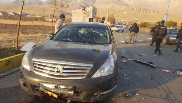 Une scène qui montre la voiture de Mohsen Fakhrizadeh, assassiné près de Tehran, Iran, 27 novembre, 2020. - Sputnik France