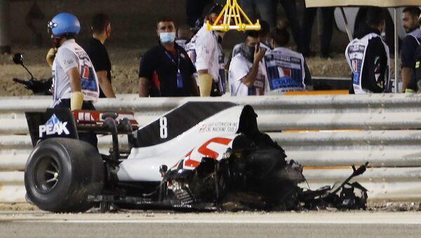 La monoplace de Romain Grosjean après l'accident lors du Grand Prix de Bahreïn - Sputnik France