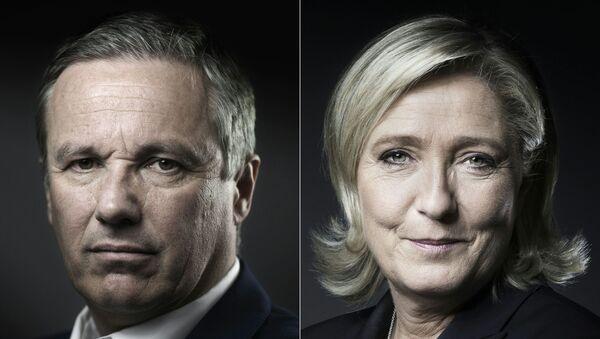 Nicolas Dupont-Aignan et Marine Le Pen - Sputnik France