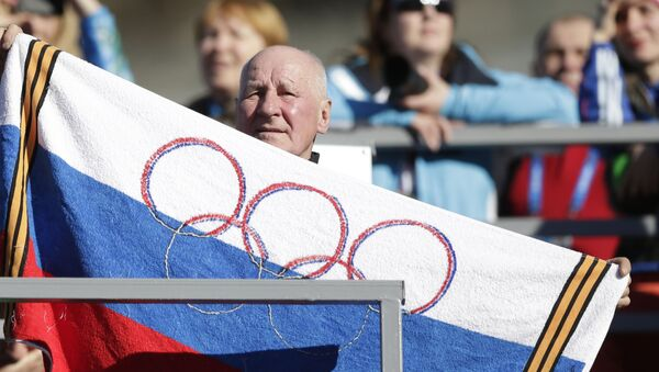 Un supporteur lors des JO avec un flag (image d'illustration) - Sputnik France