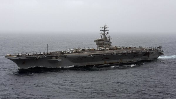 In this Sept. 7, 2020, file photo released by the U.S. Navy, the aircraft carrier USS Nimitz transits the Arabian Sea. The Pentagon announced Thursday, Dec. 31, 2020, that the USS Nimitz, the only Navy aircraft carrier operating in the Middle East, will return home to the U.S. West Coast. - Sputnik France