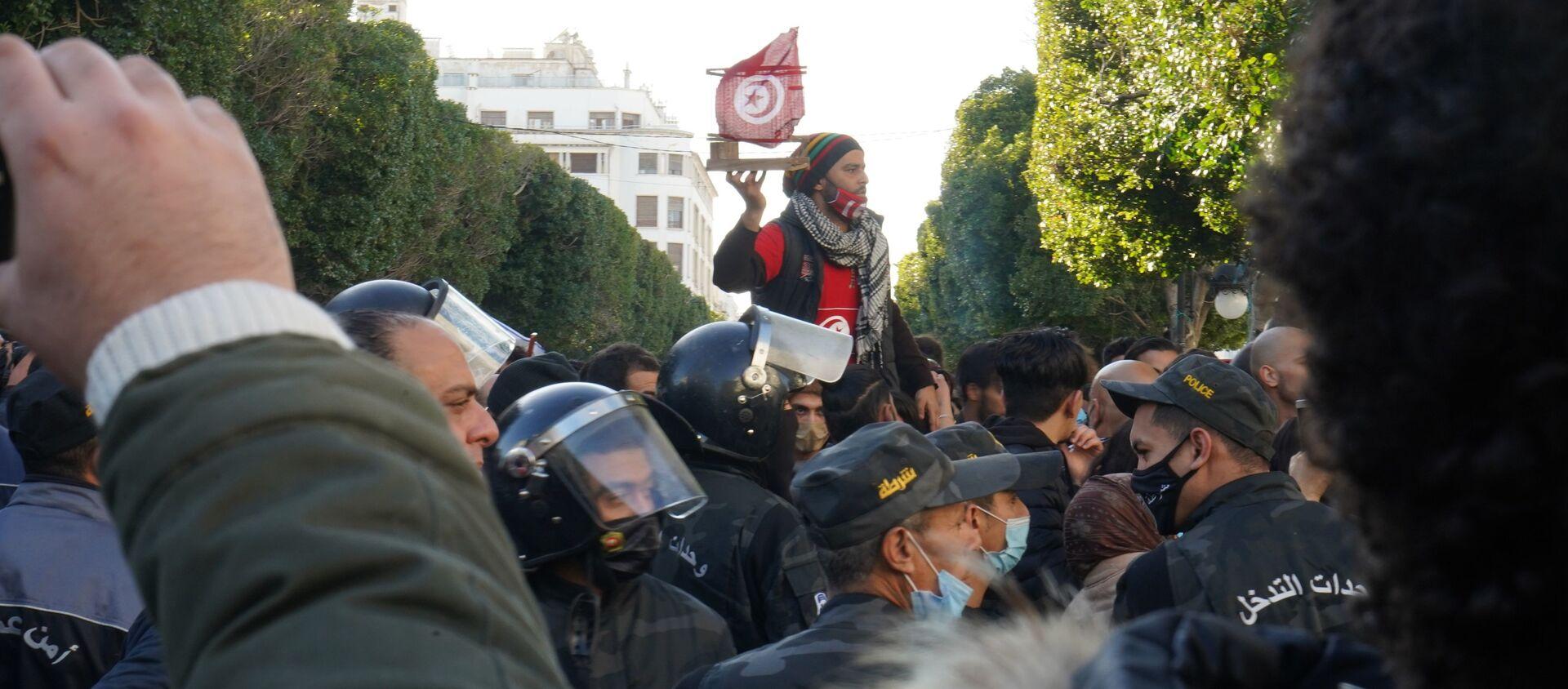 Manifestation à Tunis - Sputnik France, 1920, 20.01.2021