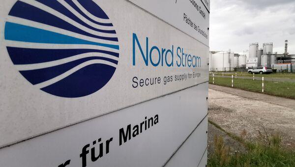 Un panneau d'information du gazoduc Nord Stream 2 à Lubmin, en Allemagne - Sputnik France