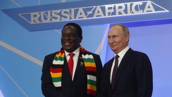 Le président russe Vladimir Poutine salue le président zimbabwéen Emmerson Mnangagwa lors de la cérémonie d'accueil officielle - Sputnik France