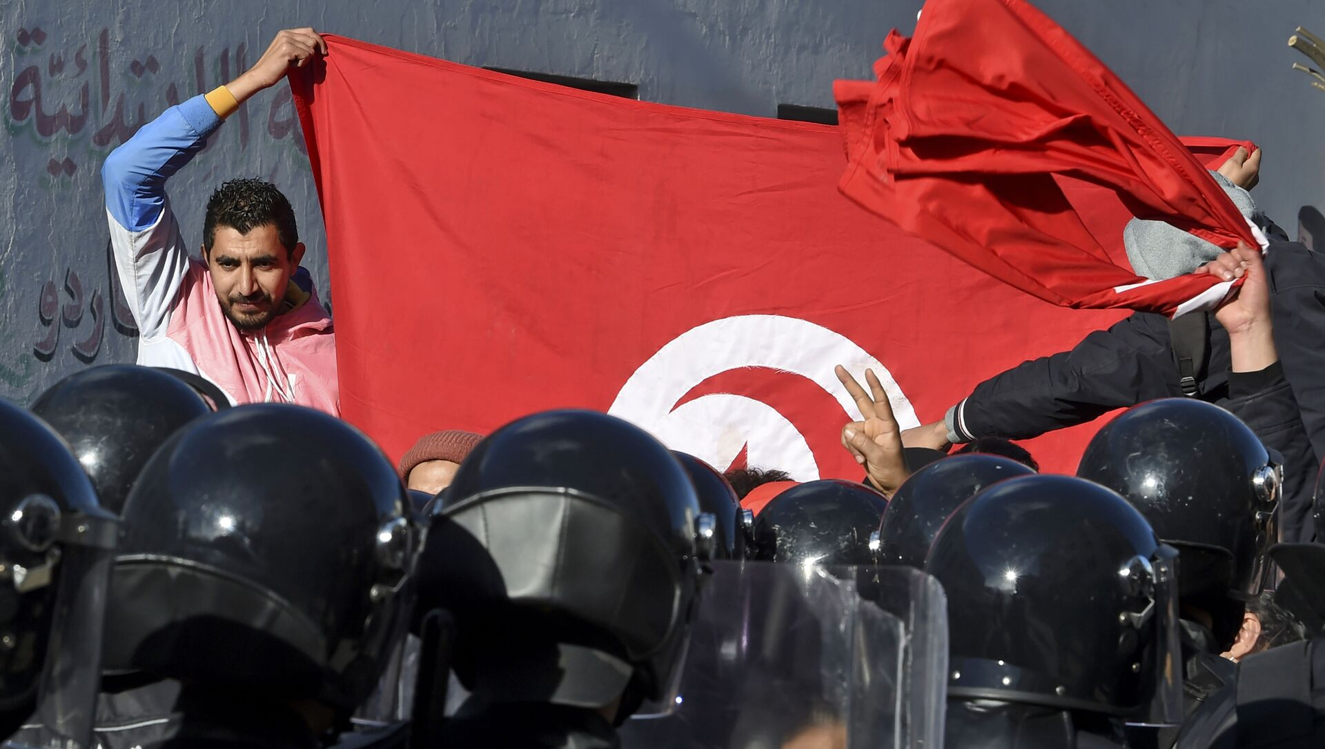 Des manifestants en Tunisie - Sputnik France, 1920, 05.02.2021