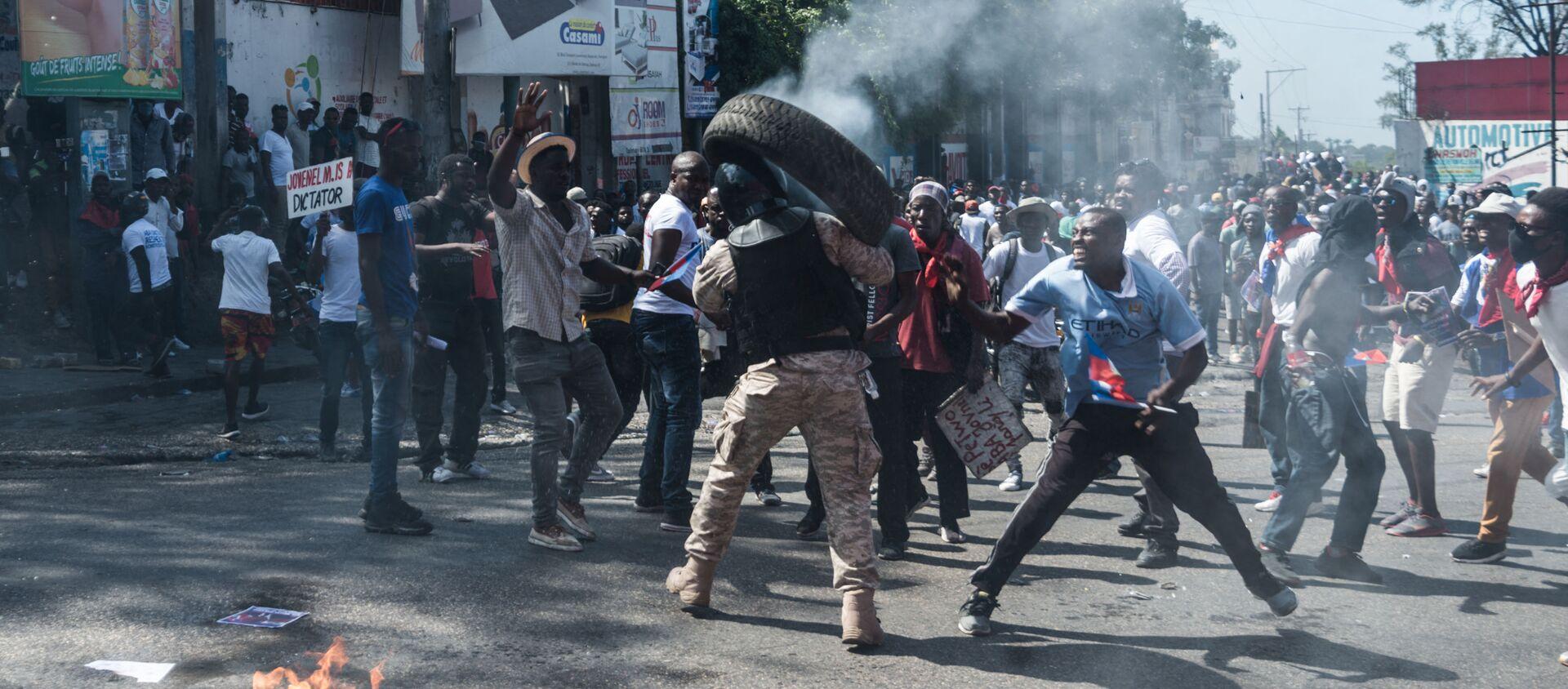 Manifestations en Haïti contre la prolongation du mandat de Jovenel Moïse, le 14 février 2021. - Sputnik France, 1920, 16.02.2021
