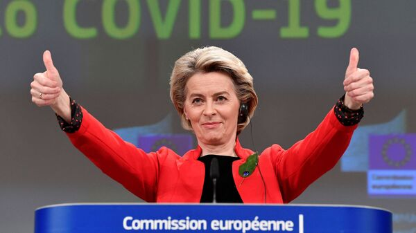 La présidente de la Commission européenne, Ursula von der Leyen, s'exprime à la suite d'une réunion du collège sur le certificat commun de vaccination Covid-19 de l'UE - Sputnik France