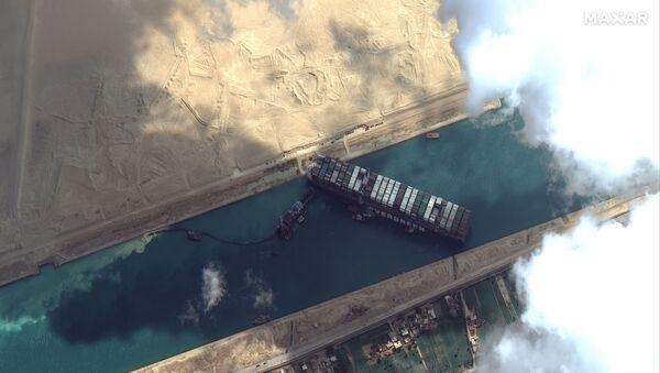 Le porte-conteneurs Ever Given bloque le canal de Suez (archive photo) - Sputnik France