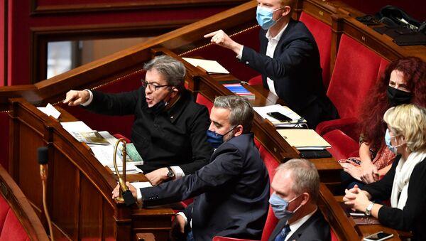 La France insoumise (LFLes députés La France insoumise Jean-Luc Mélenchon, Adrien Quatennens, Alexis Corbière et Bénédicte Taurine à l'Assemblée nationale, octobre 2020) - Sputnik France