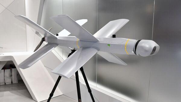 Le drone-kamikaze Zala Lancet exposé au stand du groupe Kalachnikov (juin 2019) - Sputnik France