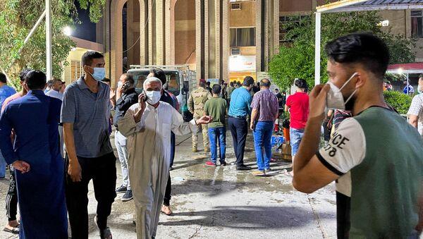 L'hôpital Ibn Khatib après un incendie causé par l'explosion d'une bouteille d'oxygène à Bagdad, le 25 avril 2021 - Sputnik France