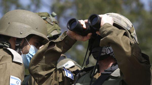 Un militaire israélien surveille la Ligne bleue qui constitue la ligne de retrait d'Israël du sud-Liban (archive photo) - Sputnik France