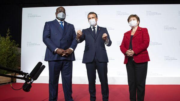 Félix Tshisekedi, Emmanuel Macron et Kristalina Gueorguieva lors du Sommet sur le financement des économies africaines, le 18 mai 2021 - Sputnik France