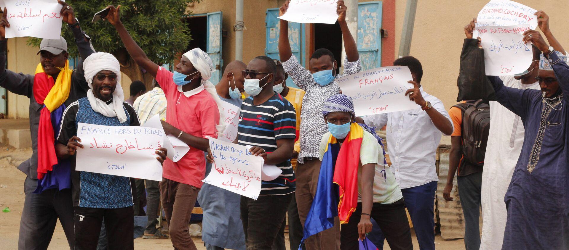 Manifestation à N'Djamena contre le Conseil de transition militaire (СTM) et l'ingérence de la France le 08.05.2021 - Sputnik France, 1920, 19.05.2021