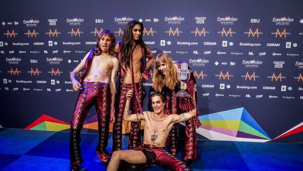 Le groupe italien Maneskin après sa victoire à l'Eurovision - Sputnik France