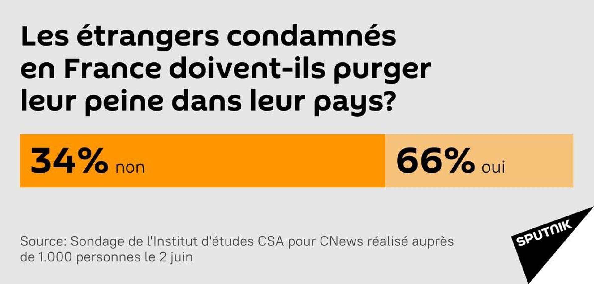 Près de 66% des Français veulent voir les étrangers condamnés en France purger leur peine dans leur pays - Sputnik France, 1920, 04.06.2021