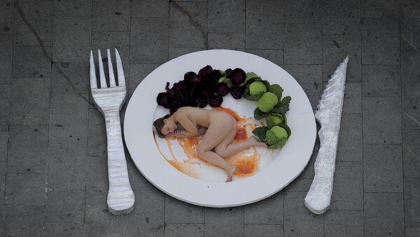 Une manifestation vegan contre la consommation de viande à Barcelone, décembre 2011 - Sputnik France