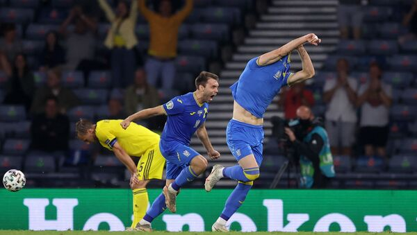 L'Ukraine s'est qualifiée pour les quarts de finale de l'Euro en battant la Suède à Glasgow, le 29 juin 2021 - Sputnik France