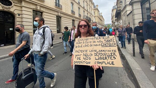 Une manifestation contre le pass sanitaire à Paris, le 17 juillet 2021 - Sputnik France