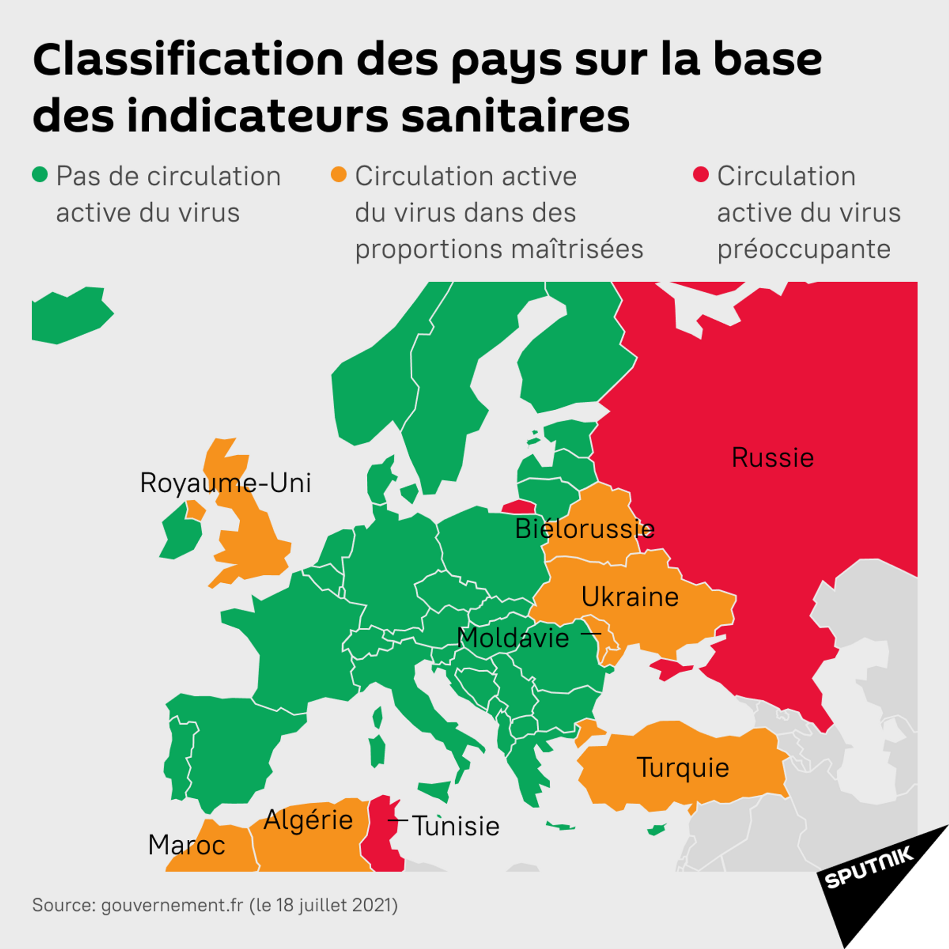 Vert, orange ou rouge: quelles restrictions en France pour quelle catégorie de pays? - Sputnik France, 1920, 19.07.2021