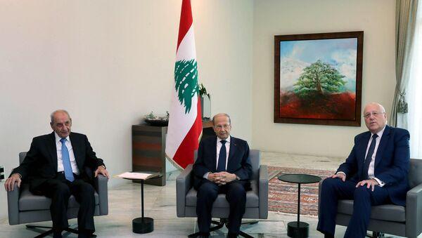 Nabih Berri, Michel Aoun et Najib Mikati - Sputnik France