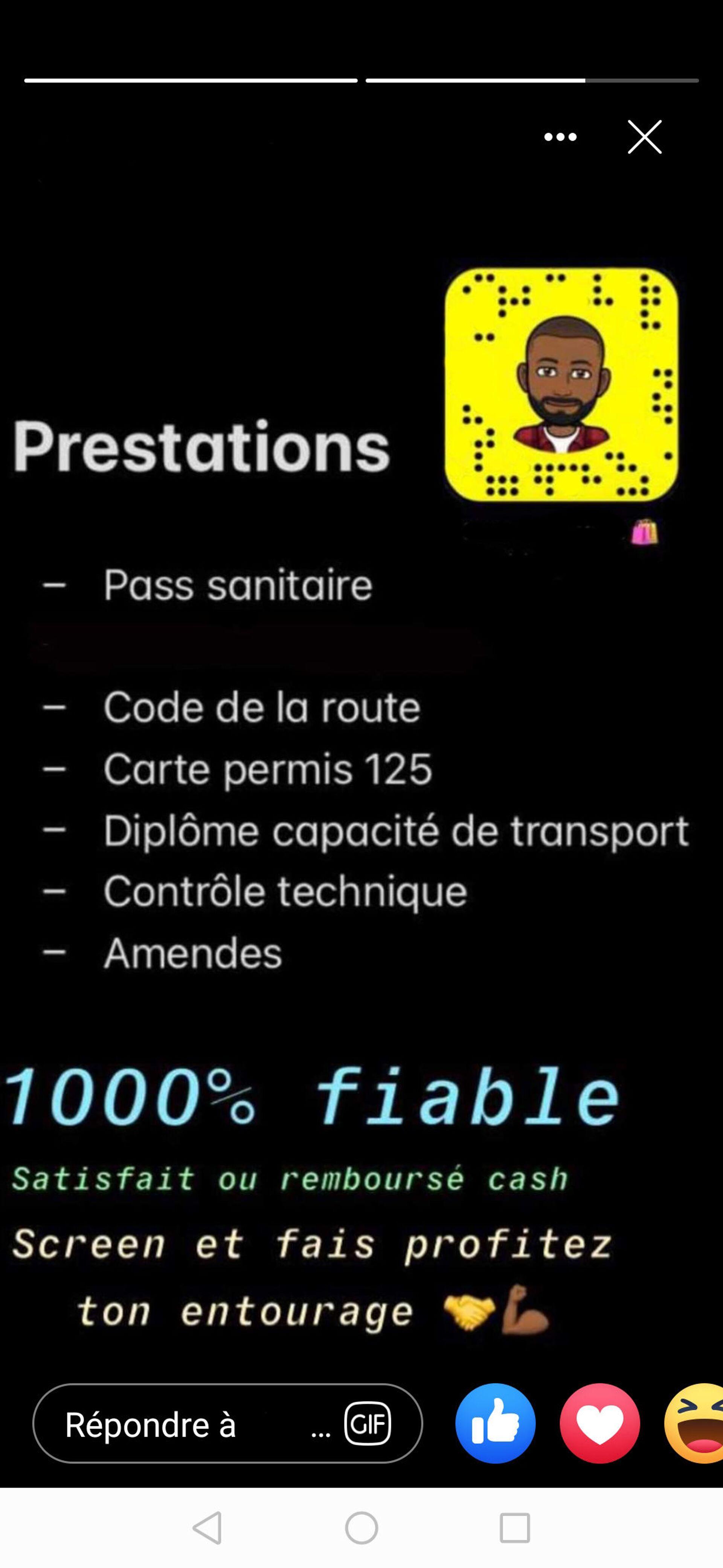 Capture d'écran Instagram - vente pass sanitaire - Sputnik France, 1920, 21.09.2021