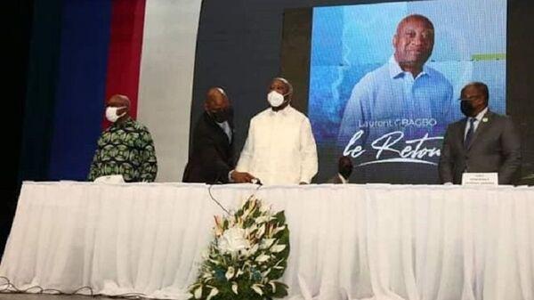 L'ancien Président ivoirien Laurent Gbagbo lors du comité central extraordinaire au palais de la culture de Treichville - Sputnik France