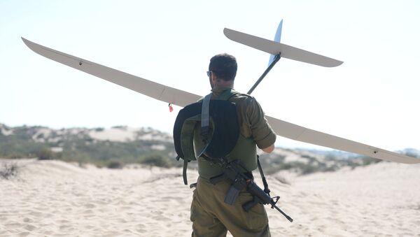 Un soldat israélien tient un drone Skylark - Sputnik France