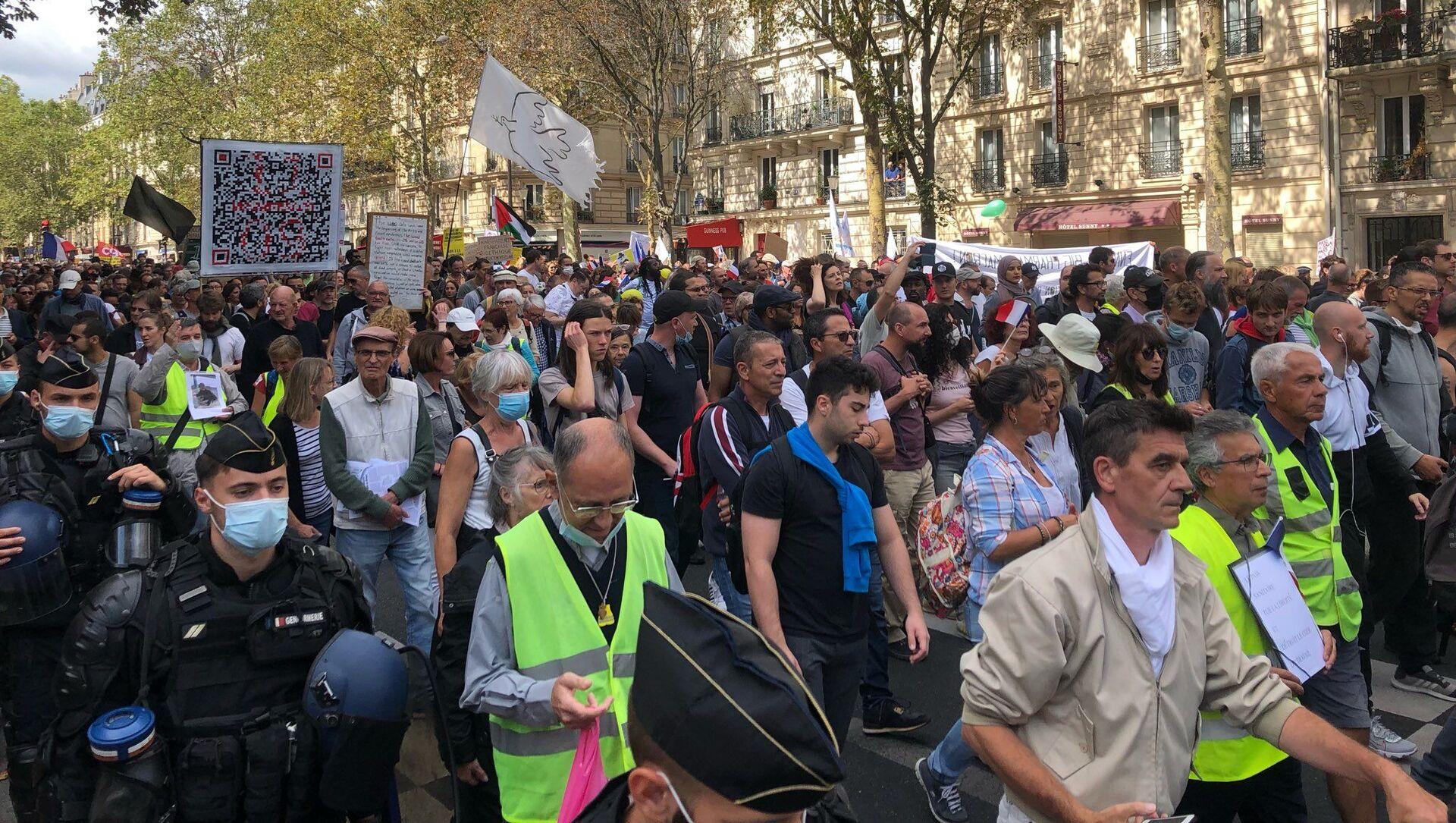Septième week-end consécutif de mobilisation anti-pass sanitaire à Paris, 28 août 2021 - Sputnik France, 1920, 28.08.2021