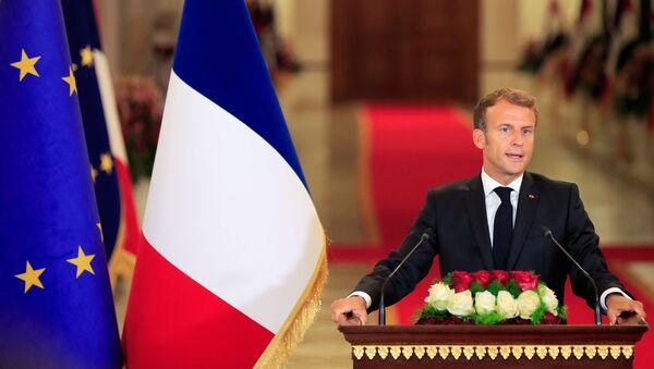 Emmanuel Macron lors de sa conférence de presse avant la conférence de Bagdad, le 28 août 2021 - Sputnik France