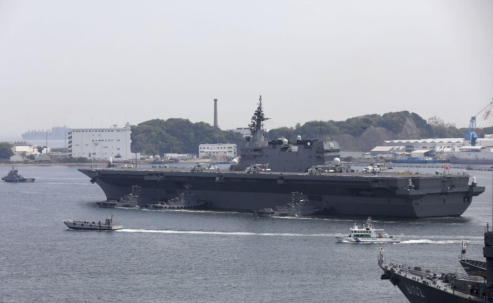 Long de 248 mètres et ses 27.000 tonnes de déplacement à pleine charge, l'Izumo est sans conteste le plus gros bâtiment de la flotte d'autodéfense japonaise, 4e marine du monde. - Sputnik France, 1920, 21.09.2021