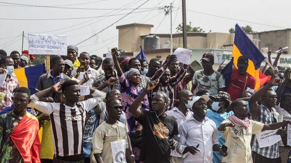 Manifestation à N'Djaména contre la junte qui dirige le Tchad depuis la mort d'Idriss Déby, le 11 septembre 2021 - Sputnik France