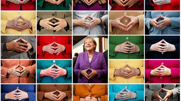 Комбинированный снимок знаменитого жеста рук Ангелы Меркель  - Sputnik France