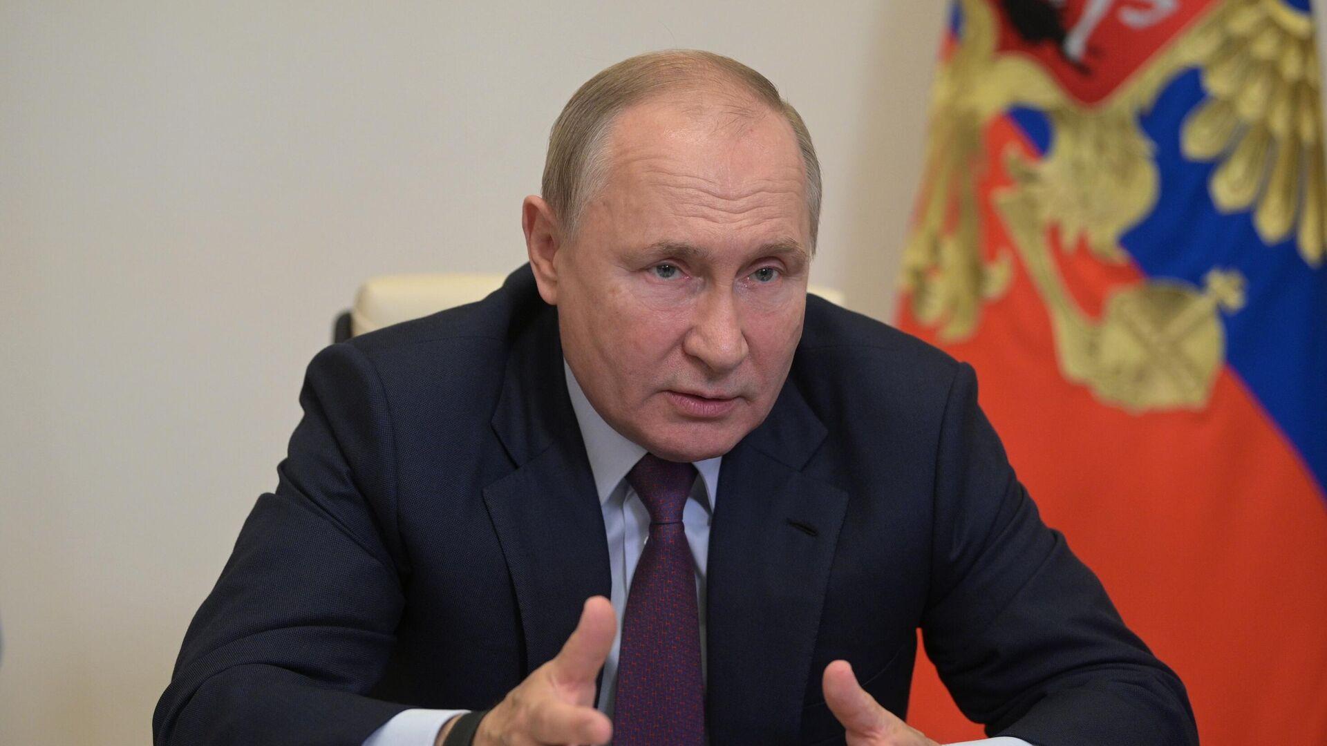 Vladimir Poutine lors d'une réunion en duplex, le 27 septembre 2021 - Sputnik France, 1920, 27.09.2021