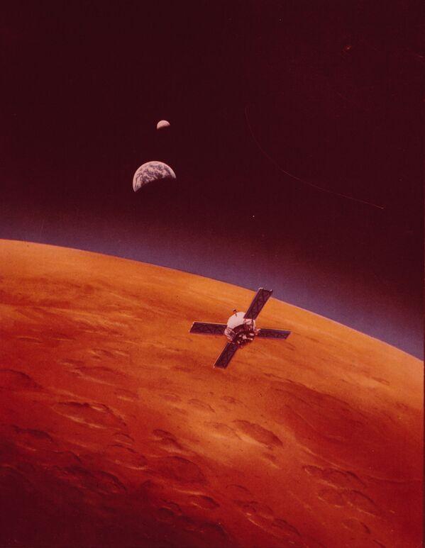 En 1971, Mariner 9 (sur la photo) devient le premier satellite artificiel d'une autre planète. - Sputnik France