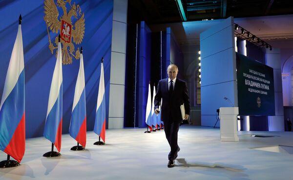 Vladimir Poutine au Manège de Moscou après son message annuel à l'Assemblée fédérale, le 21 avril 2021. - Sputnik France