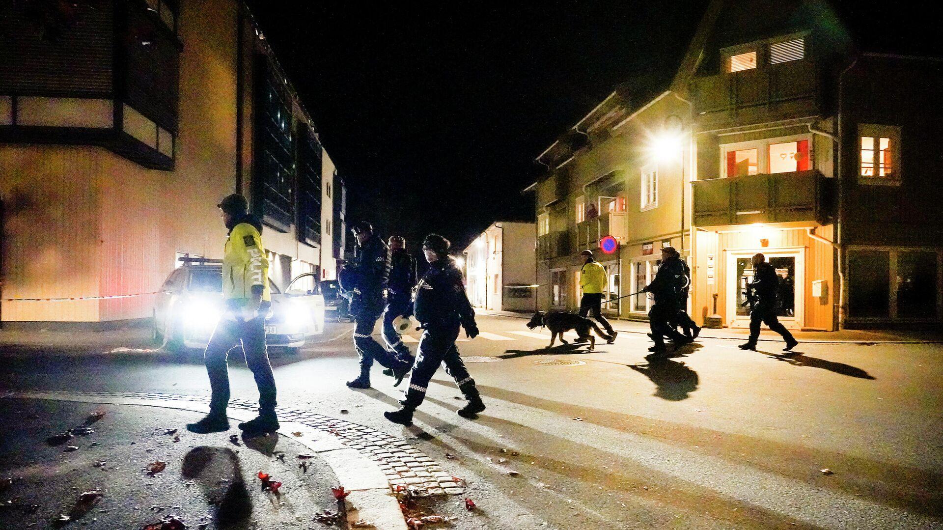 Des policiers à Kongsberg après l'attaque à l'arc survenu le 13 octobre 2021 - Sputnik France, 1920, 14.10.2021