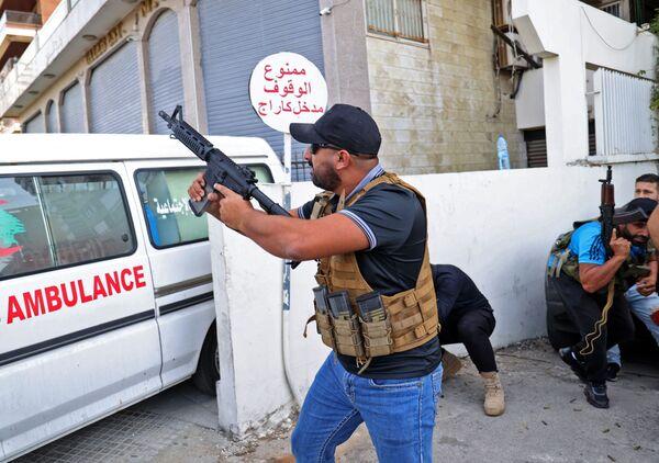 Des partisans du mouvement chiite libanais Amal lors des affrontements à Beyrouth. - Sputnik France